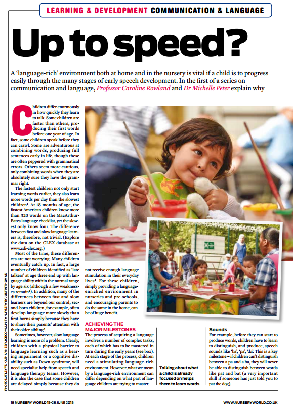 Image of 'Up to speed?' article as published by Nursery World Magazine