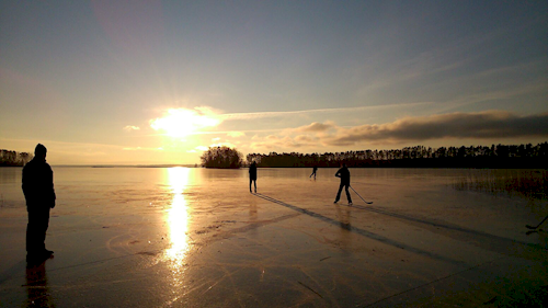 Skating on a frozen lake in Finland